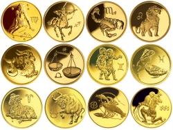 "Набор золотых монет ""Знаки зодиака"" 25 рублей 3.11 грамм"