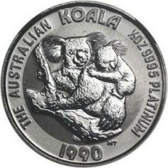"""Платиновая монета 100 Dollars """"Коала"""" Австралия 1oz РАЗНЫЕ ГОДА"""