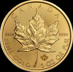 """Золотая монета """"Кленовый лист"""", Canadian Gold Maple Leaf 50 долларов, 1oz"""