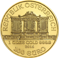 """Золотая монета """"Венская Филармония""""(Филармоникер), Austrian Gold Philharmonic 100 евро"""